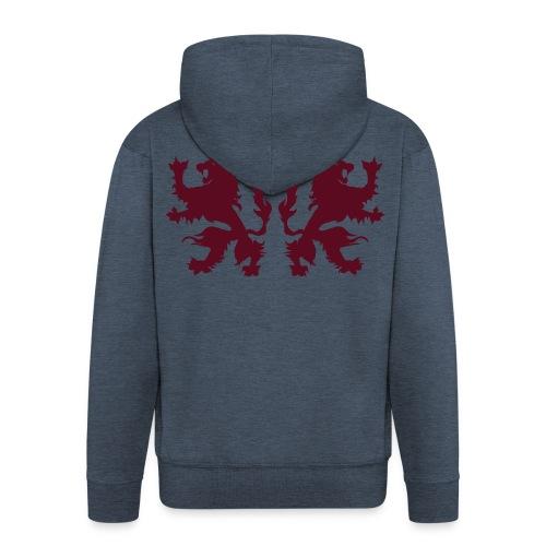 Double Lions - Burgundy red - Men's Premium Hooded Jacket