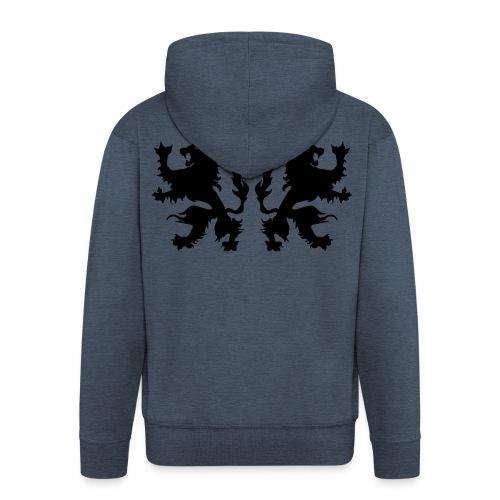 Double Lions - Black print - Men's Premium Hooded Jacket