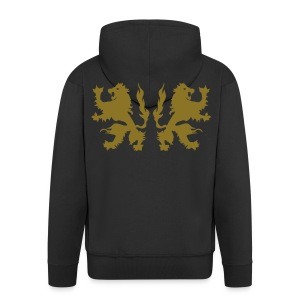 Double Lions - Gold print - Men's Premium Hooded Jacket