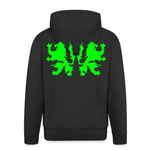 Double Lions - Neongreen - Men's Premium Hooded Jacket