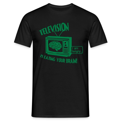 TV is Eating Your Brain - Men's T-Shirt