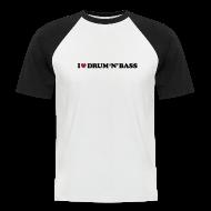 T-Shirts ~ Men's Baseball T-Shirt ~ I Love Drum & Bass Baseball Tee (Black/White)