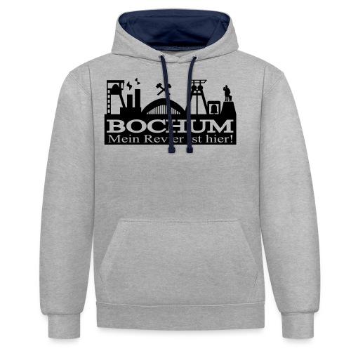 Bochumer Skyline - Mein Revier ist hier! - langärmeliges Männer Baseballshirt - Kontrast-Hoodie
