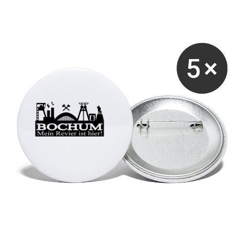 Bochumer Skyline - Mein Revier ist hier! - langärmeliges Männer Baseballshirt - Buttons klein 25 mm (5er Pack)