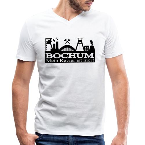 Bochumer Skyline - Mein Revier ist hier! - langärmeliges Männer Baseballshirt - Männer Bio-T-Shirt mit V-Ausschnitt von Stanley & Stella