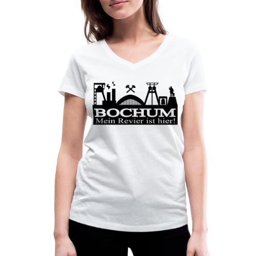 Bochumer Skyline - Mein Revier ist hier! - langärmeliges Männer Baseballshirt - Frauen Bio-T-Shirt mit V-Ausschnitt von Stanley & Stella