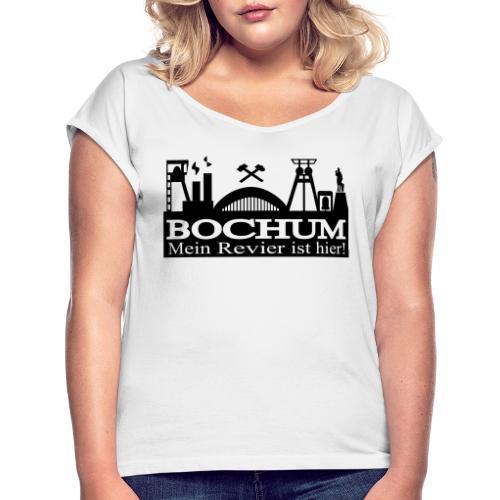 Bochumer Skyline - Mein Revier ist hier! - langärmeliges Männer Baseballshirt - Frauen T-Shirt mit gerollten Ärmeln