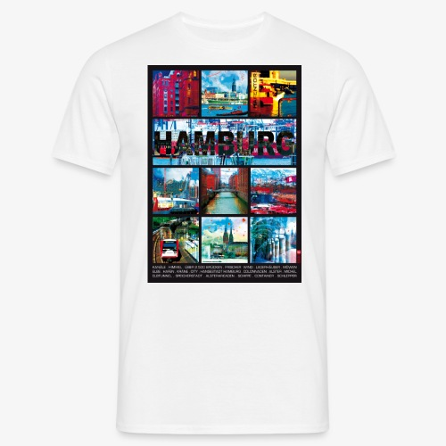Hamburg Collage 01 Hansestadt Andenken Geschenkide - Männer T-Shirt