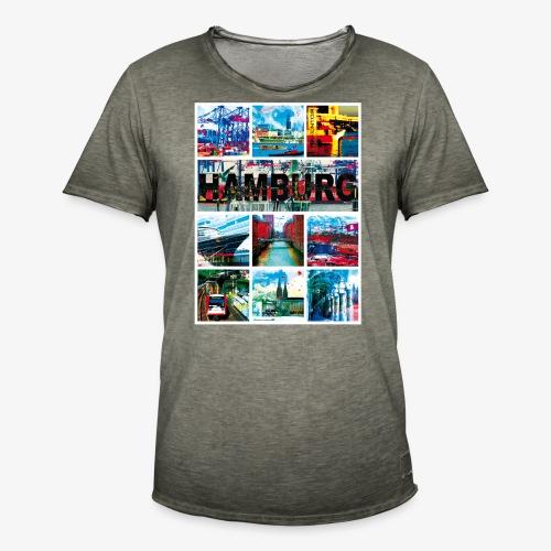 Hamburg Collage 04 Hansestadt Andenken Geschenk Fr - Männer Vintage T-Shirt