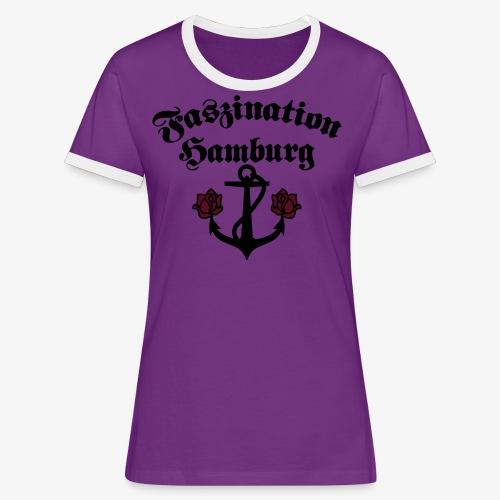 Faszination Hamburg Anker und Rosen Frauen Shirt - Frauen Kontrast-T-Shirt