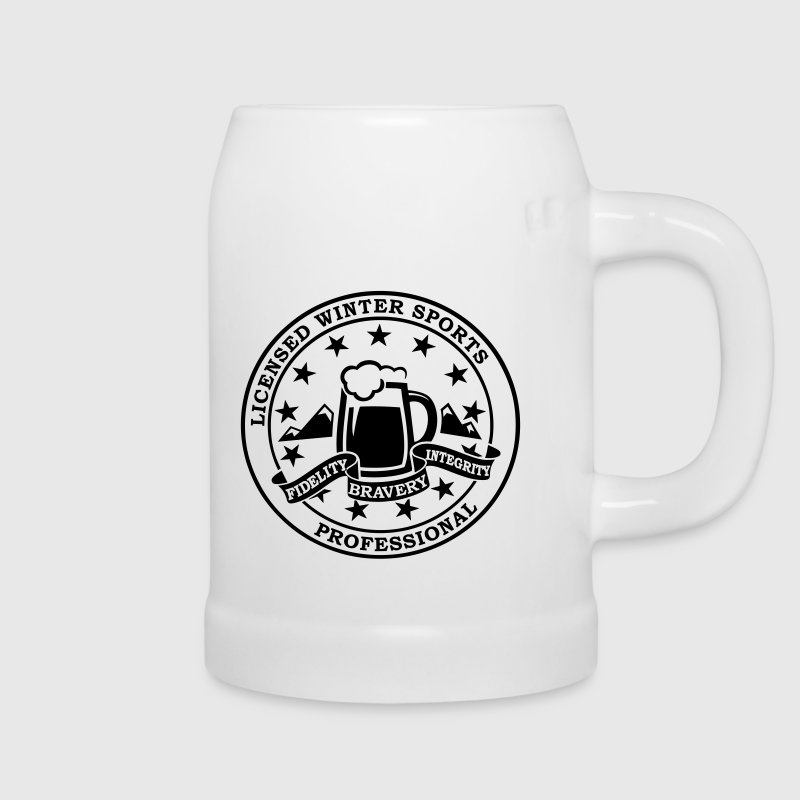 Funny i love winter sports Après-ski beer skiing and party license badge slogan for geek clubbing stag do students partying Bottles & Mugs - Beer Mug