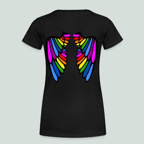 wings of rainbow woman back - Frauen Premium T-Shirt