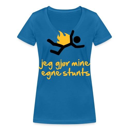 Jeg gjør mine egne stunts - Økologisk T-skjorte med V-hals for kvinner fra Stanley & Stella