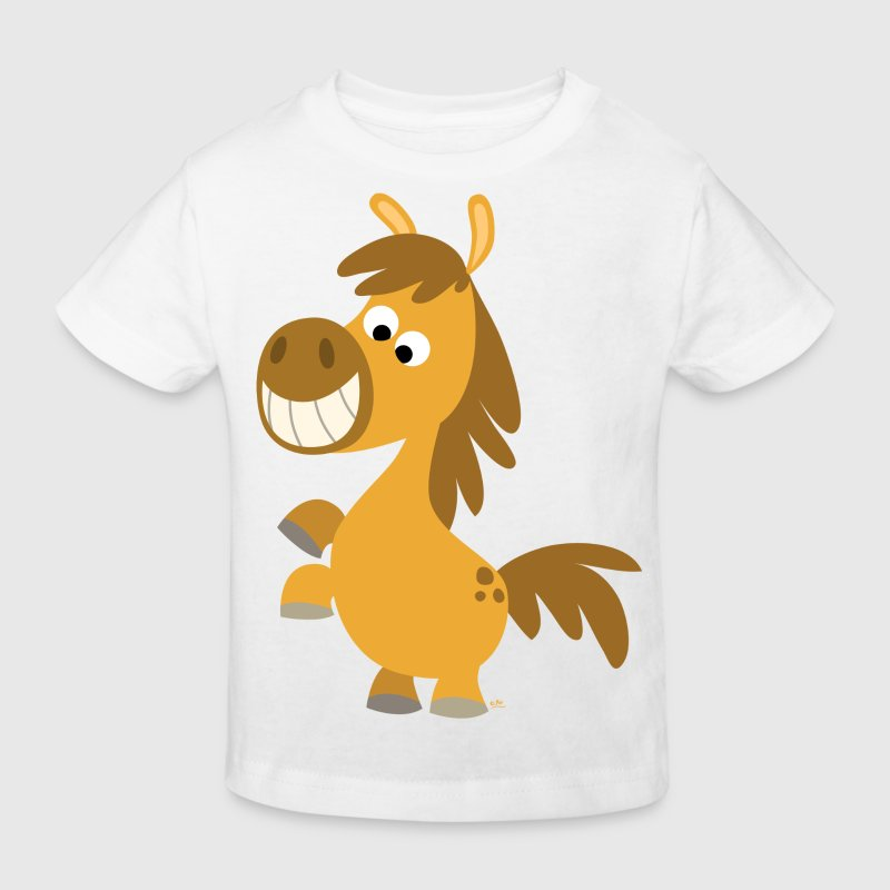 White Cute Rearing Cartoon Pony by Cheerful Madness!! online shop Kid's Shirts  - Kids' Organic T-shirt