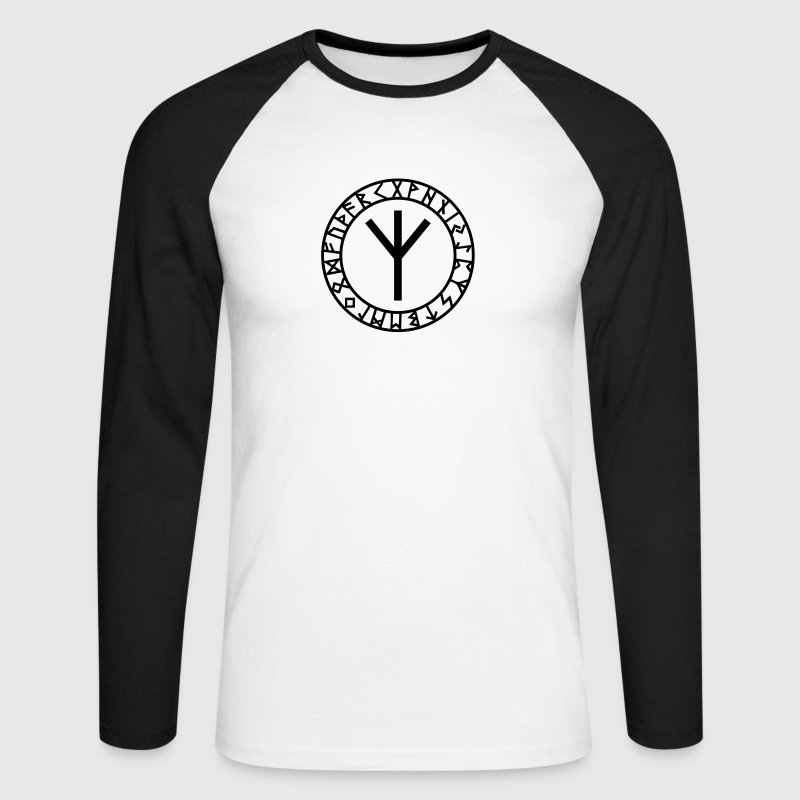 Algiz rune I rune of higher vibrations I 1c I Long sleeve shirts - Men's Long Sleeve Baseball T-Shirt