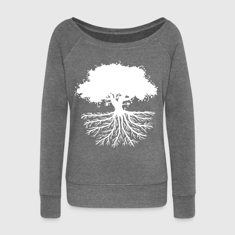 tree roots white Hoodies & Sweatshirts - Women's Boat Neck Long Sleeve Top