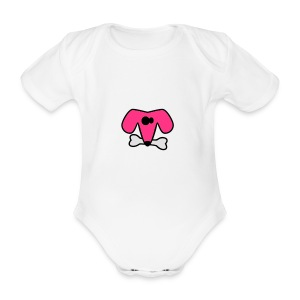 Bib with puppy - Organic Short-sleeved Baby Bodysuit