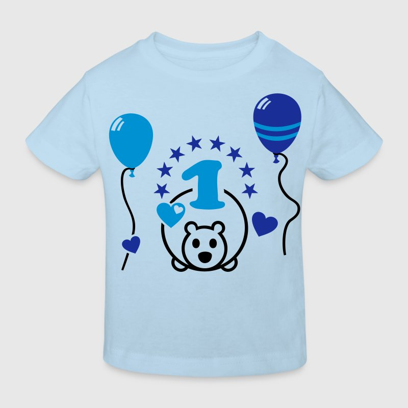 At last one! First Birthday Party Balloon Bear Shirts - Kids' Organic T-shirt