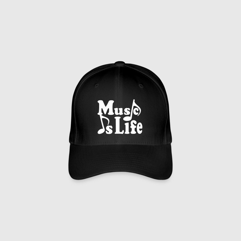 Music is Life. Music notes musician Caps & Hats - Flexfit Baseball Cap