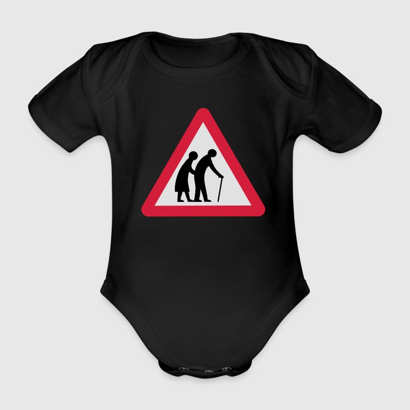 Caution Old People Crossing Traffic Sign Shirts - Organic Short-sleeved Baby Bodysuit