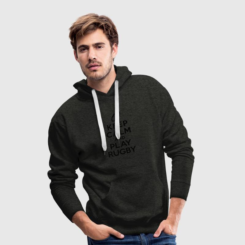 Keep calm and play Rugby Sweat-shirts - Sweat-shirt à capuche Premium pour hommes