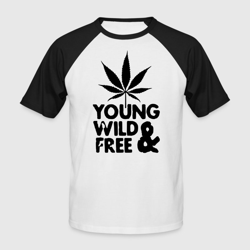 young wild and free weed leaf Tee shirts - T-shirt baseball manches courtes Homme