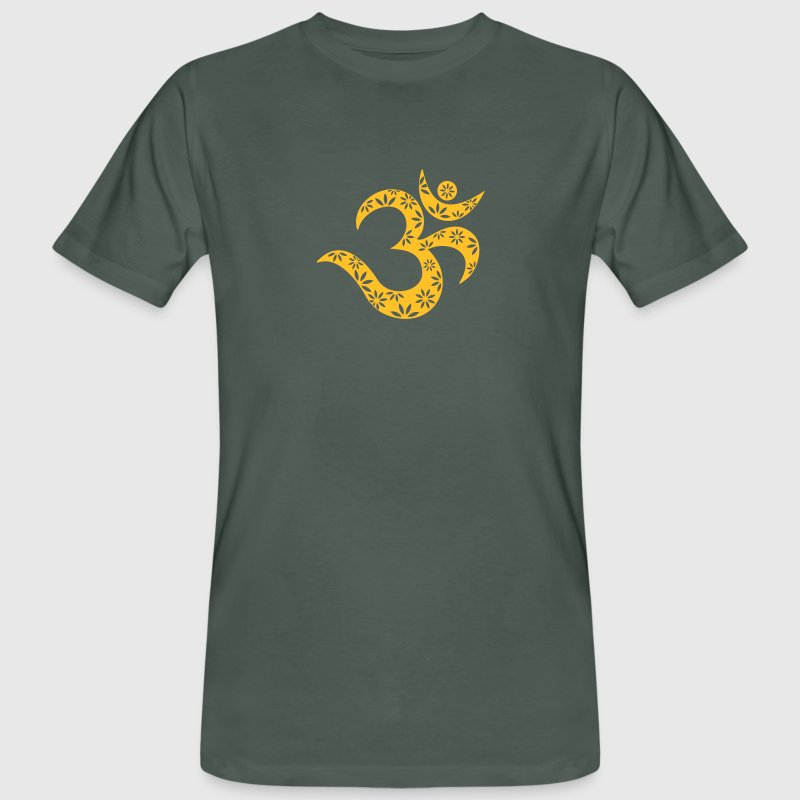 OM Mantra symbol, flowers, patterns, Aum, Buddhism T-shirts - Mannen Bio-T-shirt