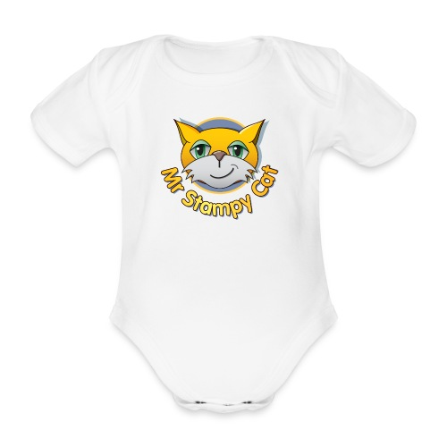 Mr. Stampy Cat - Teddy Bear - Organic Short-sleeved Baby Bodysuit