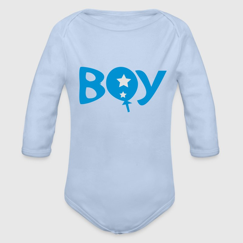 Boy text logo Baby Long Sleeve One Piece - Longlseeve Baby Bodysuit