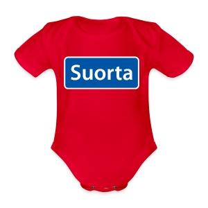 Suorta (Sortland) skilt - Økologisk kortermet baby-body