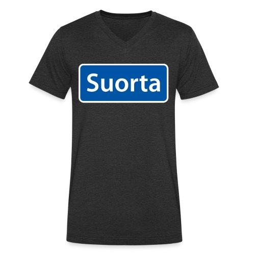 Suorta (Sortland) skilt - Økologisk T-skjorte med V-hals for menn fra Stanley & Stella