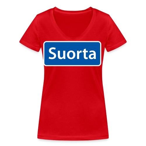Suorta (Sortland) skilt - Økologisk T-skjorte med V-hals for kvinner fra Stanley & Stella