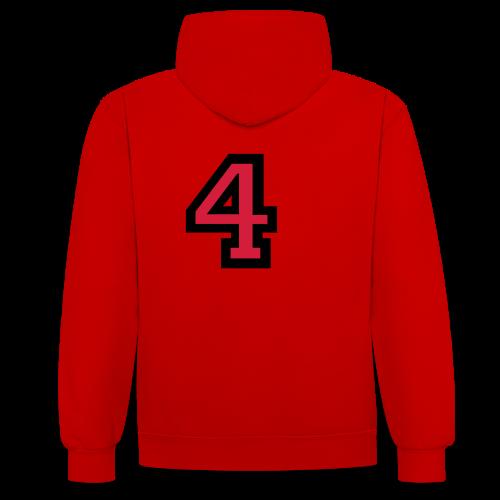Nummer 4 T-Shirt - Kontrast-Hoodie