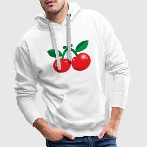 cute little red cherries  Aprons - Men's Premium Hoodie