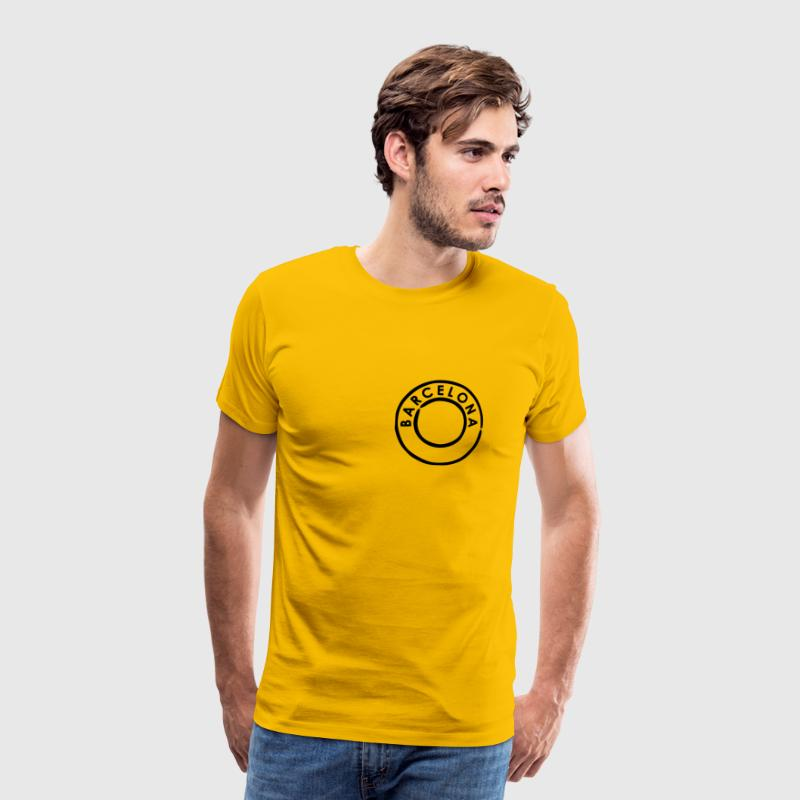 Yellow Barcelona Postmark Men's Tees (short-sleeved) - Men's Premium T-Shirt