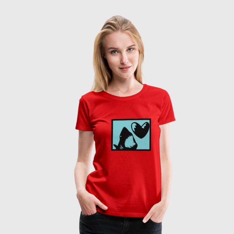 Red Shark Heart Women's Tees (short sleeved) - Women's Premium T-Shirt