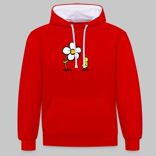 Vogel Blumeshirt (farbig) - Kontrast-Hoodie