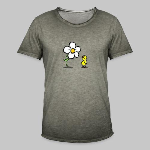 Vogel Blumeshirt (farbig) - Männer Vintage T-Shirt