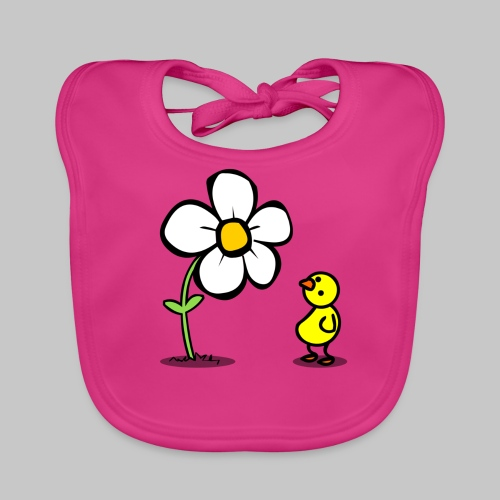 Vogel Blumeshirt (farbig) - Baby Bio-Lätzchen