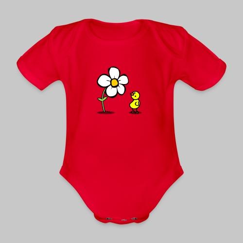 Vogel Blumeshirt (farbig) - Baby Bio-Kurzarm-Body