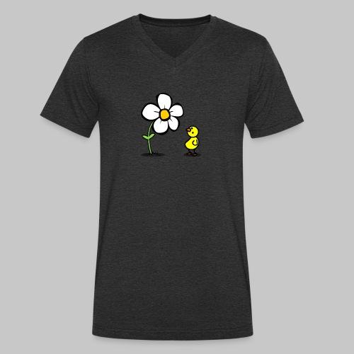 Vogel Blumeshirt (farbig) - Männer Bio-T-Shirt mit V-Ausschnitt von Stanley & Stella