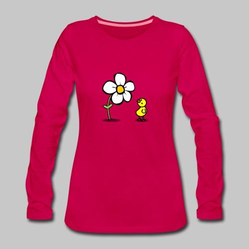 Vogel Blumeshirt (farbig) - Frauen Premium Langarmshirt