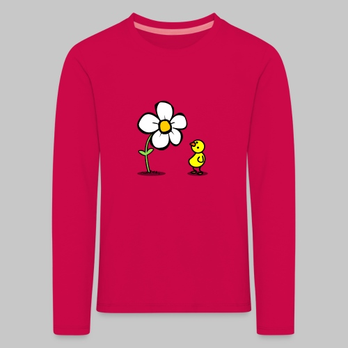 Vogel Blumeshirt (farbig) - Kinder Premium Langarmshirt