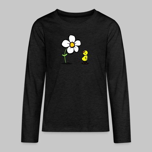 Vogel Blumeshirt (farbig) - Teenager Premium Langarmshirt