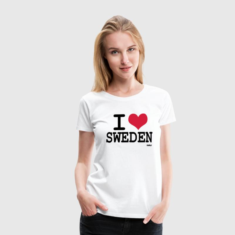 Wit i love sweden by wam T-shirts - Vrouwen Premium T-shirt