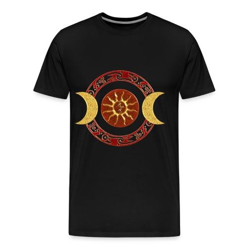 Mond - Kokopelli / rot gold - Männer Premium T-Shirt