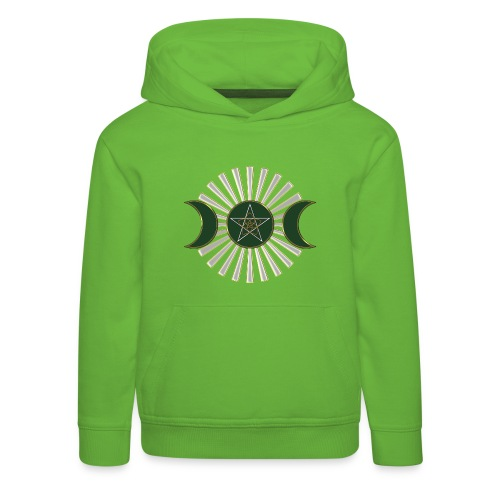 Mond - Pentagramm, Venusblume / grün - Kinder Premium Hoodie