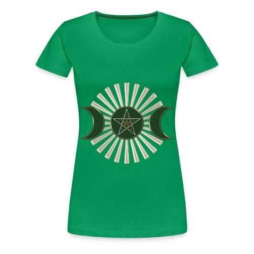 Mond - Pentagramm, Venusblume / grün - Frauen Premium T-Shirt