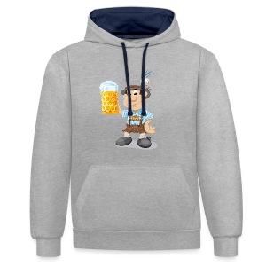 Herren T-Shirt Oktoberfest Lederhosen Bier - Kontrast-Hoodie