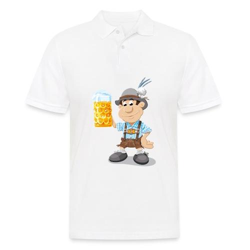 Herren T-Shirt Oktoberfest Lederhosen Bier - Männer Poloshirt